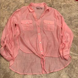 Chico's button up tie front blouse